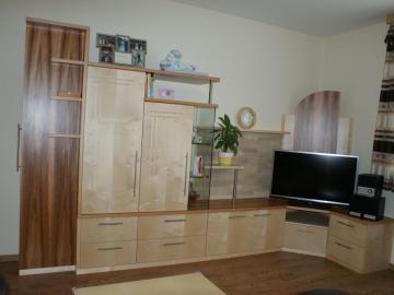 Wohnzimmerverbau in Ahorn/Nuss furniert mit Glaselementen
